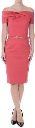 Christian Dior (クリスチャン ディオール) - Dior オフショルダー 半袖ドレス ベルト付 ピンク 40