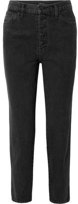 J Brand - Heather Cropped High-rise Straight-leg Jeans - Black