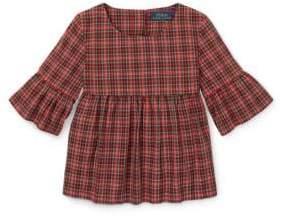 Ralph Lauren Childrenswear Baby Girl's Tartan Bell-Sleeve Top