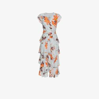 Etro floral print ruffled silk dress