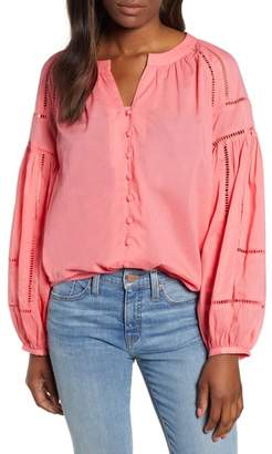 Caslon Embroidered Peasant Sleeve Top