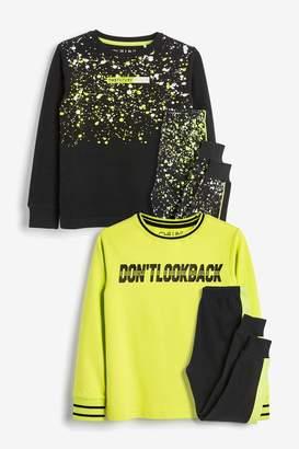 Next Boys Yellow/Black 2 Pack Fluro Slogan Splatter Print Pyjamas (3-16yrs) - Yellow