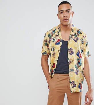 Asos DESIGN Tall oversized viscose postcard print shirt with revere collar