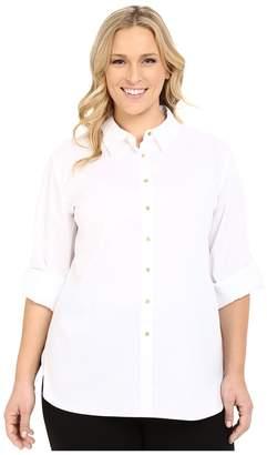 Calvin Klein Plus Plus Size Non Iron Tunic Women's Long Sleeve Button Up