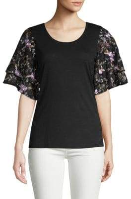 Embroidered Lace-Accented Top
