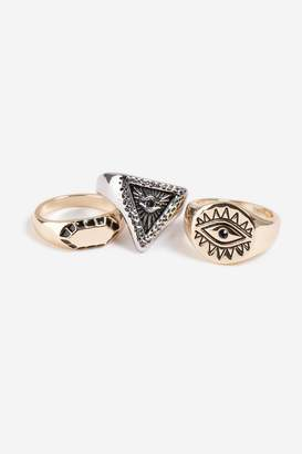 Topshop Chunky Signet 3 Pack Rings