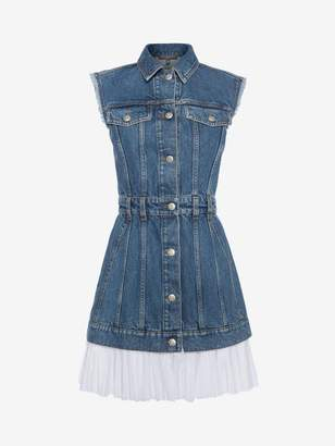 Alexander McQueen Sleeveless Mini Denim Dress