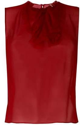 No.21 ruffle bib sheer blouse