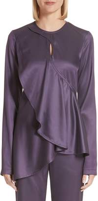 Sies Marjan Jaelyn Ruffle Panel Satin Twill Blouse