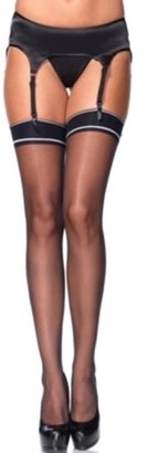 Leg Avenue Women's Sheer Stockings with Striped Band Top, Black, One Size