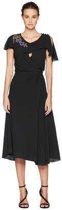 Zac Posen Solid Crepe Short Sleeve Dress w/ Embroidery Women's Dress