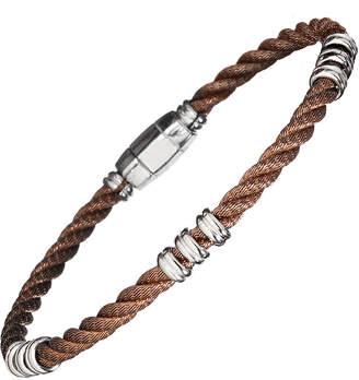 Jan Leslie Men's Bronze Beaded 925 Sterling Silver Cable Bracelet