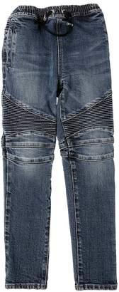 Balmain Stone Washed Stretch Denim Biker Jeans