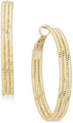 "Charter Club Large Gold-Tone Triple-Row Textured Hoop Earrings, 1.6"""
