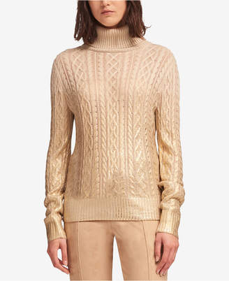 DKNY Metallic-Detail Cable-Knit Turtleneck Sweater