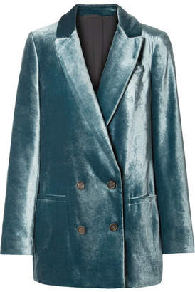Brunello Cucinelli Double-breasted Velvet Blazer - Teal