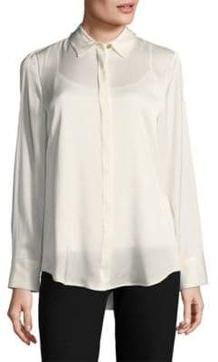 Donna Karan Long Sleeve Button-Down Shirt with Camisole