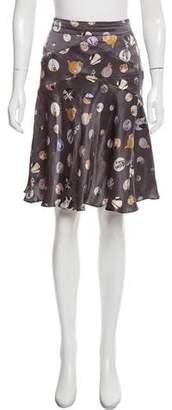 Galliano Printed Silk Skirt