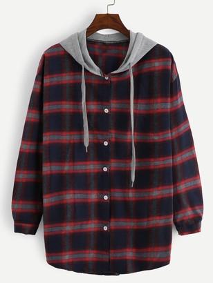Shein 2 In 1 Plaid Hooded Shirt