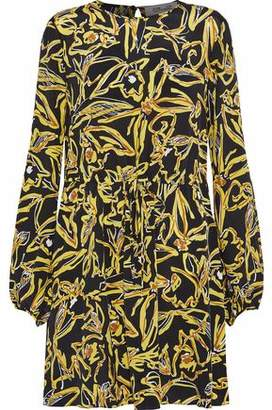 Diane von Furstenberg Cutout Printed Silk Crepe De Chine Mini Dress
