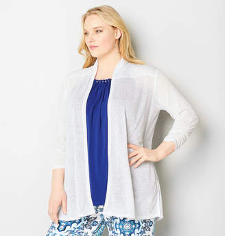 Avenue Ruched Sleeve Slub Cardigan