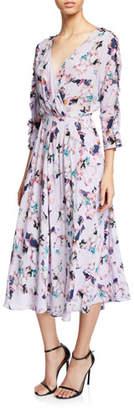 IRO Liky Ruffle Floral-Print 3/4-Sleeve Midi Dress
