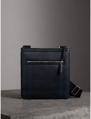 Burberry Leather Trim London Check Crossbody Bag, Blue