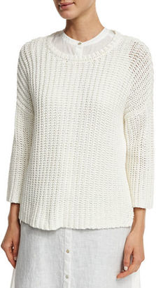 Eileen Fisher 3/4-Sleeve Tape-Neck Knit Top, Plus Size $298 thestylecure.com
