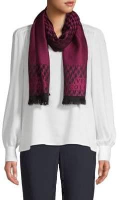Versace Houndstooth & Herringbone Wool Scarf