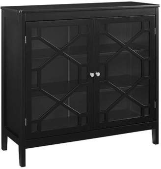Linon Felicia Large Cabinet, Black, 3 Interior Shelves