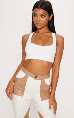 7e6f056114e18 PrettyLittleThing Chocolate Slinky Racer Back Crop Top
