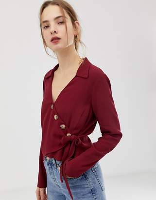 Asos Design DESIGN wrap top with asymmetric button detail