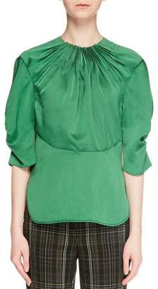 Carven Gathered Puff-Sleeve Blouse