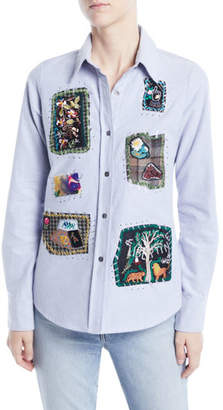 Libertine Long-Sleeve Button-Front Patchwork Classic Cotton Shirt