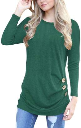 Q&Y Women's Casual Long Sleeve Loose Tunic Buttons Decor Tops Blouse T-Shirt Sweater 2XL
