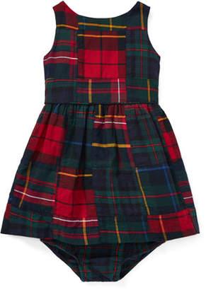 Ralph Lauren Childrenswear Plaid Patchwork Dress w/ Bloomers, Size 6-24 Months