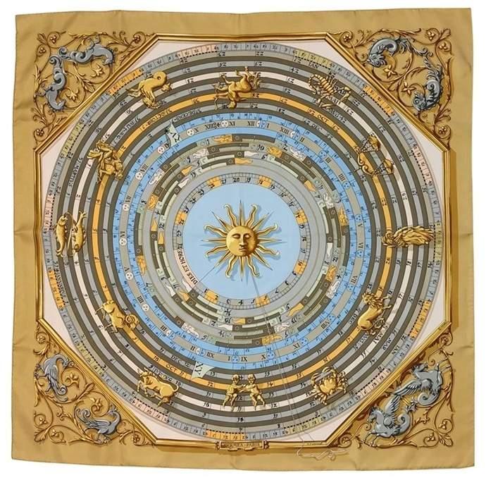 Hermes Gold Sundial Design Scarf