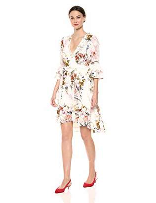 Gabby Skye Women's 3/4 Bell Sleeve Floral Wrap Dress