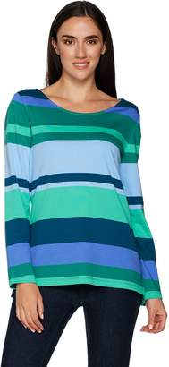Isaac Mizrahi Live! Striped Color Block Long Sleeve Tunic