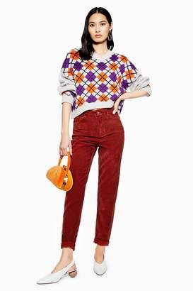 Topshop Rust Corduroy Mom Jeans