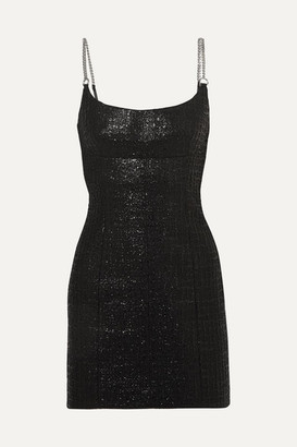 Alexander Wang Chain-trimmed Coated Cotton-blend Tweed Mini Dress - Black
