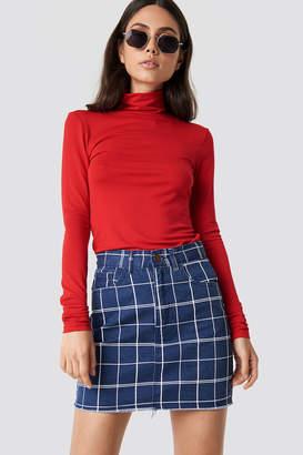 Lasula Denim Raw Hem Checkered Skirt Blue