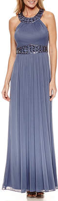 ONE BY EIGHT One by Eight Sleeveless Beaded Halter Evening Gown