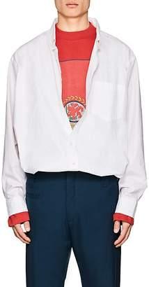 Vetements Men's Logo Cotton-Blend Poplin Oversized Shirt