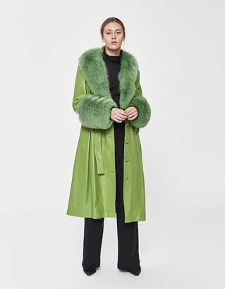 Saks Potts Foxy Leather Coat in Forest