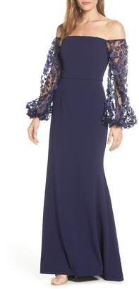 Eliza J Off the Shoulder 3D Floral Sleeve Scuba Crepe Evening Dress