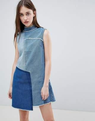 WÅVEN Christa Patchwork High Neck Denim Dress