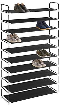 MaidMAX 10 Tiers Free Standing Shoe Rack for 50 Pairs of Shoes Organizer in Closet Entryway Hallway