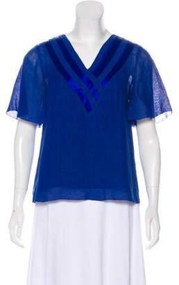 3.1 Phillip Lim Silk Linen-Blend Basket-Weave Top