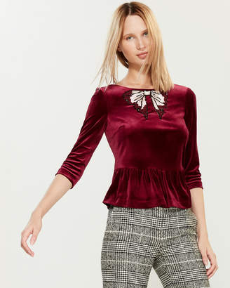 Blugirl Velvet Sequin Bow Top